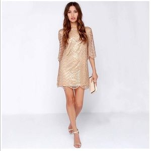 Gold sequined mini dress